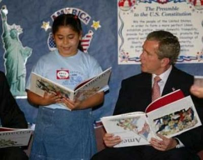 bush book upside down